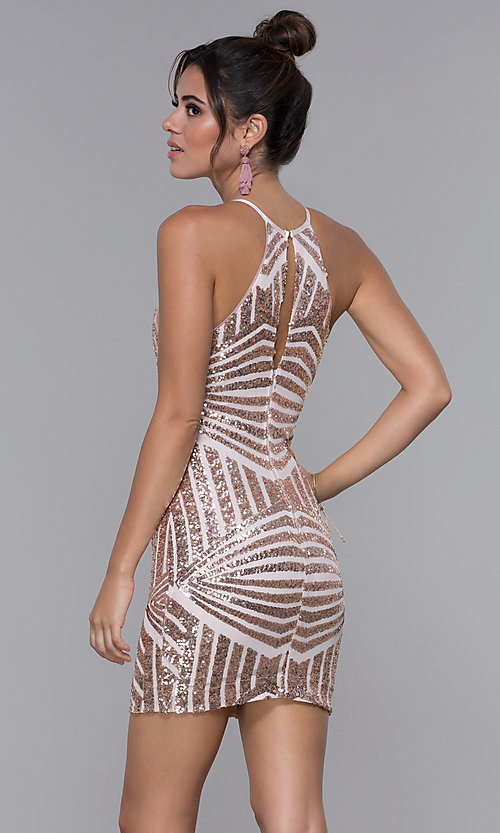 Image of art-deco-sequin short homecoming dress by PromGirl. Style: MCR-PL-1956 Back Image