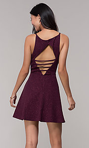 Image of short open-back glitter party dress in raisin purple. Style: SS-D73951J593 Back Image