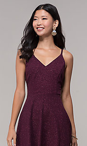 Image of short open-back glitter party dress in raisin purple. Style: SS-D73951J593 Detail Image 2