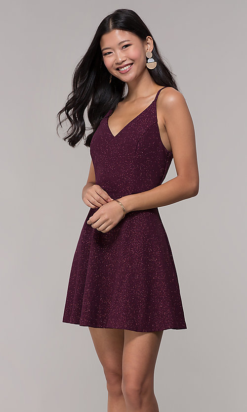 Image of short open-back glitter party dress in raisin purple. Style: SS-D73951J593 Front Image