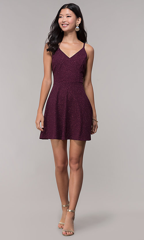 Image of short open-back glitter party dress in raisin purple. Style: SS-D73951J593 Detail Image 1
