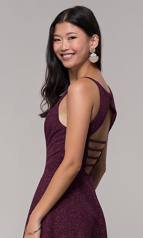 Image of short open-back glitter party dress in raisin purple. Style: SS-D73951J593 Detail Image 3