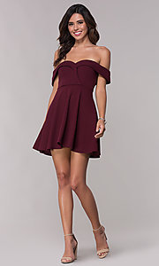 Image of wine red off-shoulder homecoming short dress. Style: SS-D73731DNE Detail Image 3