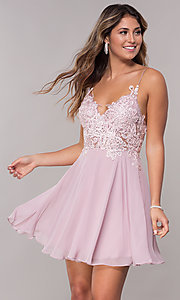 Image of short homecoming embroidered-lace-bodice dress. Style: ZG-PL-32754SC Front Image