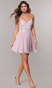 Image of short homecoming embroidered-lace-bodice dress. Style: ZG-PL-32754SC Detail Image 3