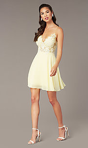 Image of short homecoming embroidered-lace-bodice dress. Style: ZG-PL-32754SC Detail Image 4