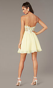 Image of short homecoming embroidered-lace-bodice dress. Style: ZG-PL-32754SC Detail Image 5