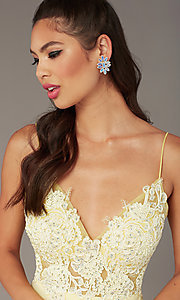 Image of short homecoming embroidered-lace-bodice dress. Style: ZG-PL-32754SC Detail Image 6