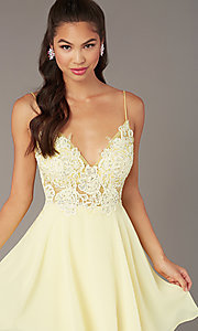 Image of short homecoming embroidered-lace-bodice dress. Style: ZG-PL-32754SC Detail Image 7