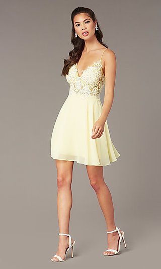 Short Homecoming Embroidered-Lace-Bodice Dress
