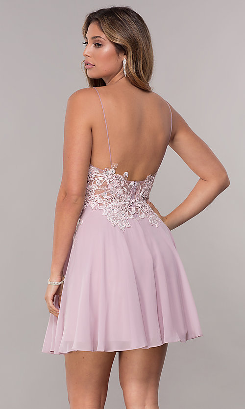 Image of short homecoming embroidered-lace-bodice dress. Style: ZG-PL-32754SC Back Image