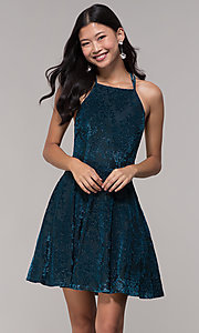 Image of short glitter-velvet open-back holiday party dress. Style: CT-7857SC7AT3 Front Image