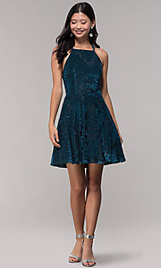 Image of short glitter-velvet open-back holiday party dress. Style: CT-7857SC7AT3 Detail Image 3