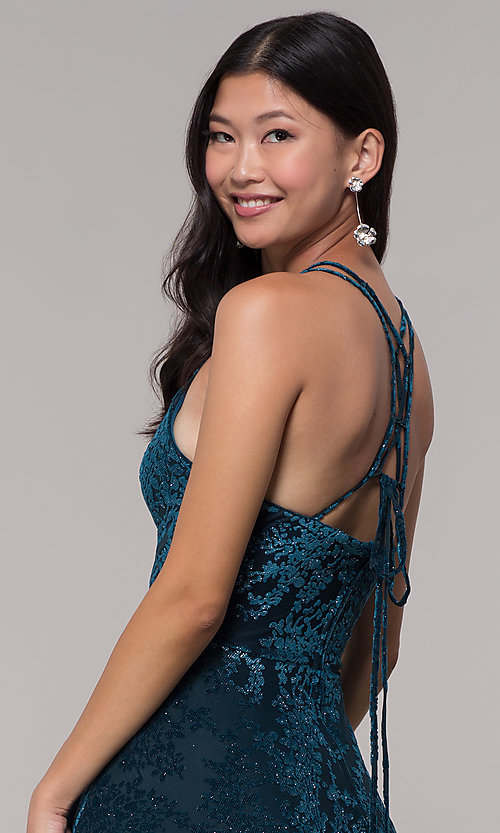 Image of short glitter-velvet open-back holiday party dress. Style: CT-7857SC7AT3 Detail Image 2