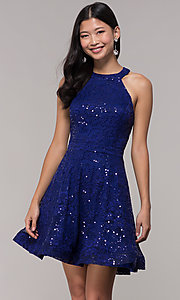 Image of short sequin-lace holiday dress with cut-out back. Style: CT-3592TM8AT3 Front Image