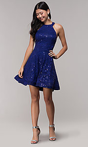 Image of short sequin-lace holiday dress with cut-out back. Style: CT-3592TM8AT3 Detail Image 3