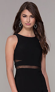 Image of short sleeveless homecoming dress with sheer sides. Style: CD-GL-G772S Detail Image 1