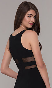 Image of short sleeveless homecoming dress with sheer sides. Style: CD-GL-G772S Detail Image 2