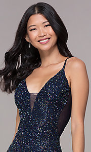 Image of short beaded v-neck homecoming dress by PromGirl. Style: PV-PL-112 Detail Image 1