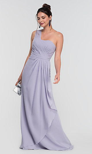One-Shoulder Long Kleinfeld Bridesmaid Dress