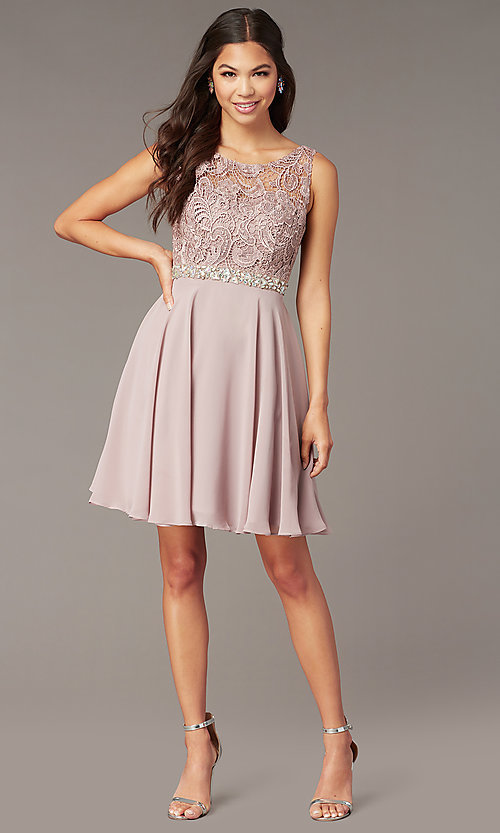 Image of short a-line lace-bodice homecoming dress by PromGirl. Style: DQ-PL-3098 Front Image