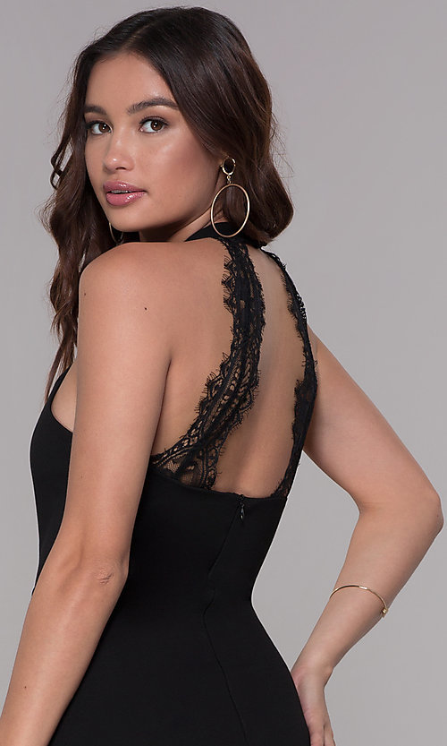 Image of jersey racer-front homecoming dress with lace back. Style: SJP-AS101 Detail Image 2
