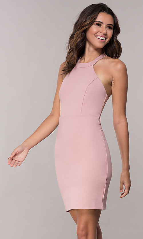 Image of jersey racer-front homecoming dress with lace back. Style: SJP-AS101 Detail Image 3