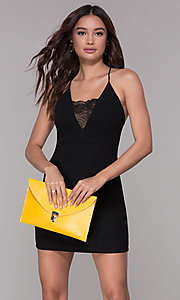 Image of short homecoming dress with lace-inset v-neckline. Style: SJP-AS102 Front Image