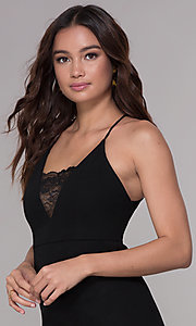 Image of short homecoming dress with lace-inset v-neckline. Style: SJP-AS102 Detail Image 1