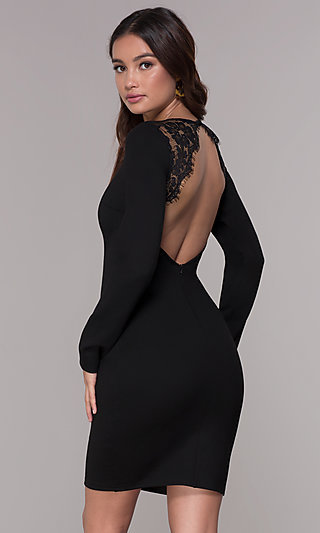 Long-Sleeve Short Open-Back Homecoming Dress