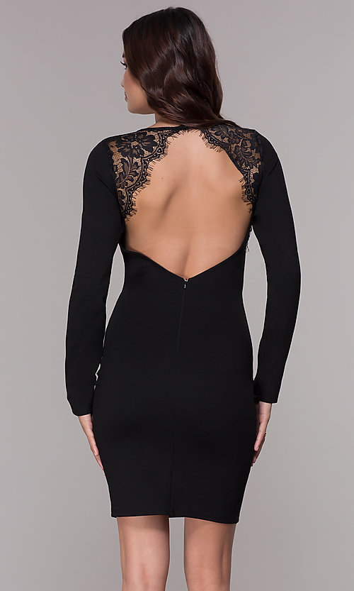 Image of long-sleeve short open-back homecoming dress. Style: SJP-AS104 Back Image