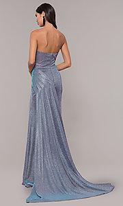Image of long metallic strapless prom dress with train. Style: CD-2076 Back Image