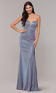 Image of long metallic strapless prom dress with train. Style: CD-2076 Detail Image 3