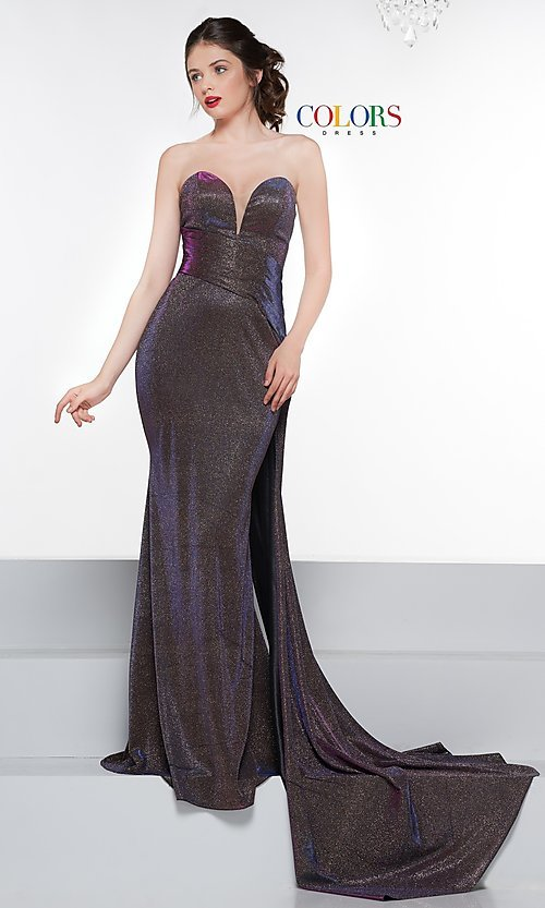 Image of long metallic strapless prom dress with train. Style: CD-2076 Detail Image 4