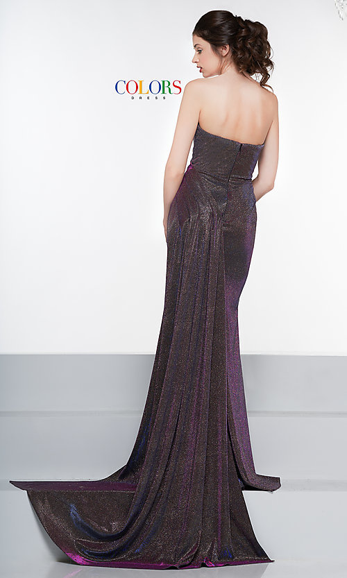Image of long metallic strapless prom dress with train. Style: CD-2076 Detail Image 5