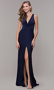 Image of knotted-bodice long v-neck prom dress with train. Style: CD-2138 Detail Image 1