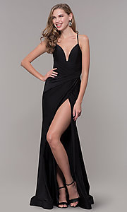 Image of faux-wrap long v-neck corset-tie prom dress. Style: CD-2106 Detail Image 5