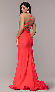 Image of faux-wrap long v-neck corset-tie prom dress. Style: CD-2106 Back Image