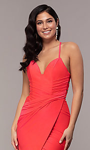 Image of faux-wrap long v-neck corset-tie prom dress. Style: CD-2106 Detail Image 1