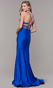 Image of faux-wrap long v-neck corset-tie prom dress. Style: CD-2106 Detail Image 4