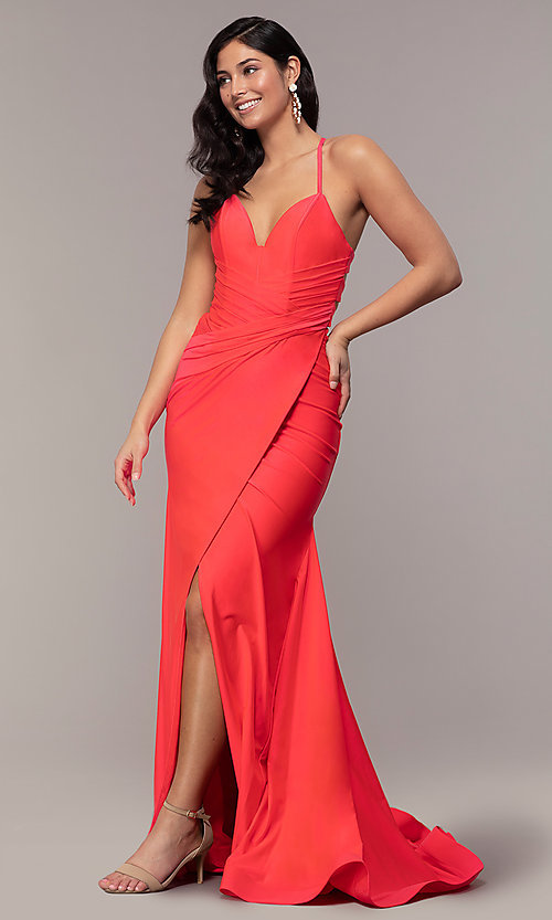 Image of faux-wrap long v-neck corset-tie prom dress. Style: CD-2106 Front Image