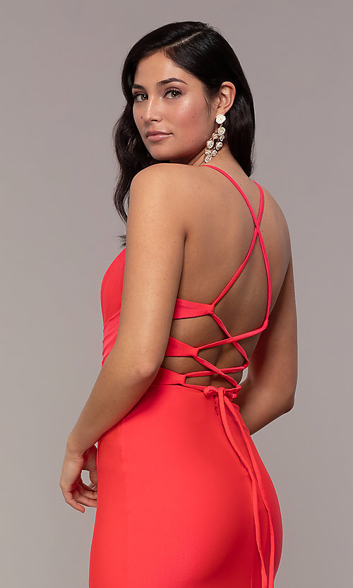 Image of faux-wrap long v-neck corset-tie prom dress. Style: CD-2106 Detail Image 2