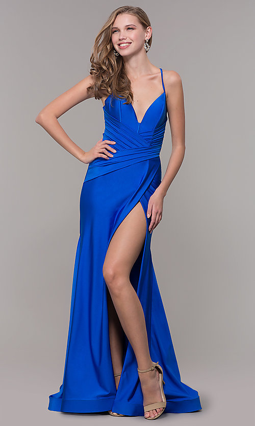 Image of faux-wrap long v-neck corset-tie prom dress. Style: CD-2106 Detail Image 3