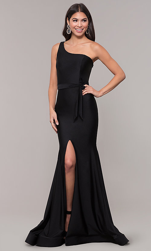 Image of long one-shoulder prom dress with slit. Style: CD-2133 Front Image