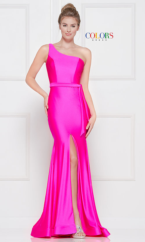 Image of long one-shoulder prom dress with slit. Style: CD-2133 Detail Image 7