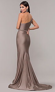 Image of long one-shoulder prom dress with side cut out. Style: CD-2137 Back Image