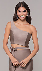Image of long one-shoulder prom dress with side cut out. Style: CD-2137 Detail Image 1