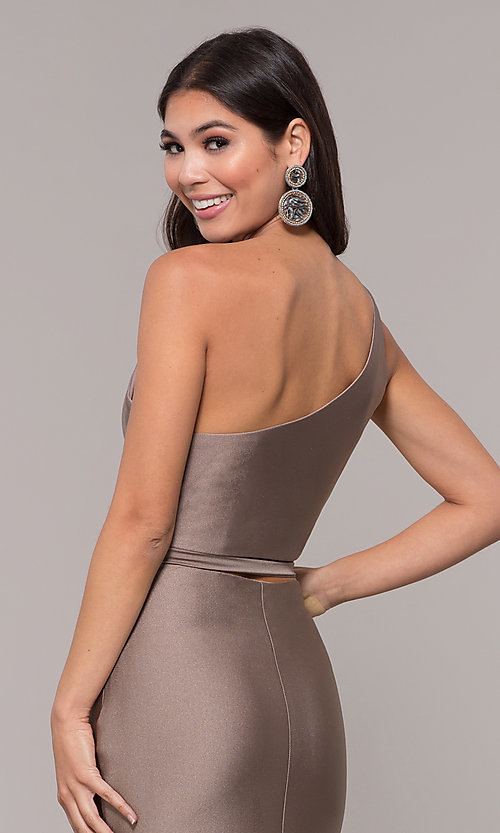 Image of long one-shoulder prom dress with side cut out. Style: CD-2137 Detail Image 2