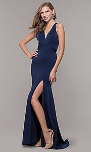 Image of long classic v-neck formal open-back dress. Style: CD-1995 Detail Image 3