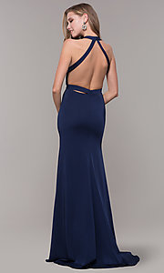 Image of long classic v-neck formal open-back dress. Style: CD-1995 Detail Image 4